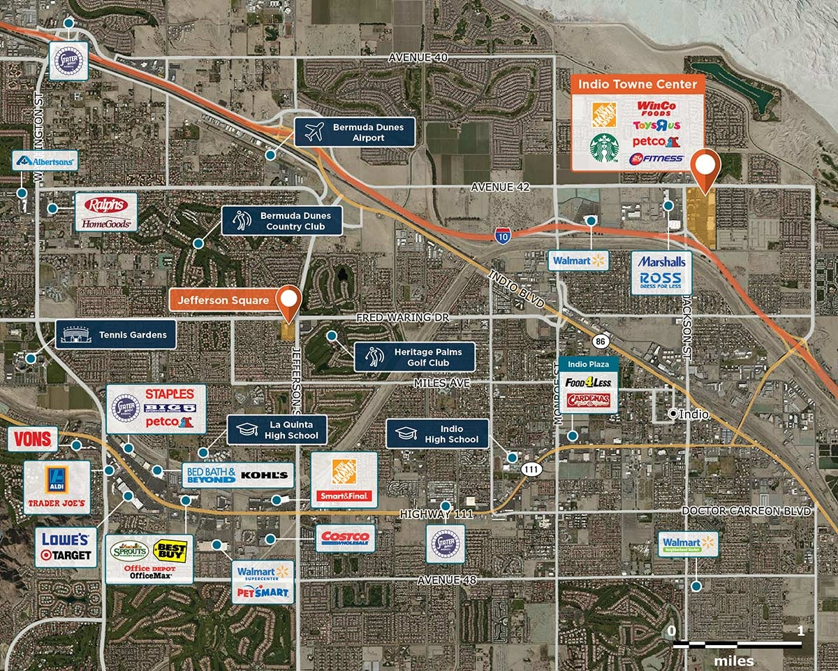 Indio Towne Center Trade Area Map for Indio, CA 92201