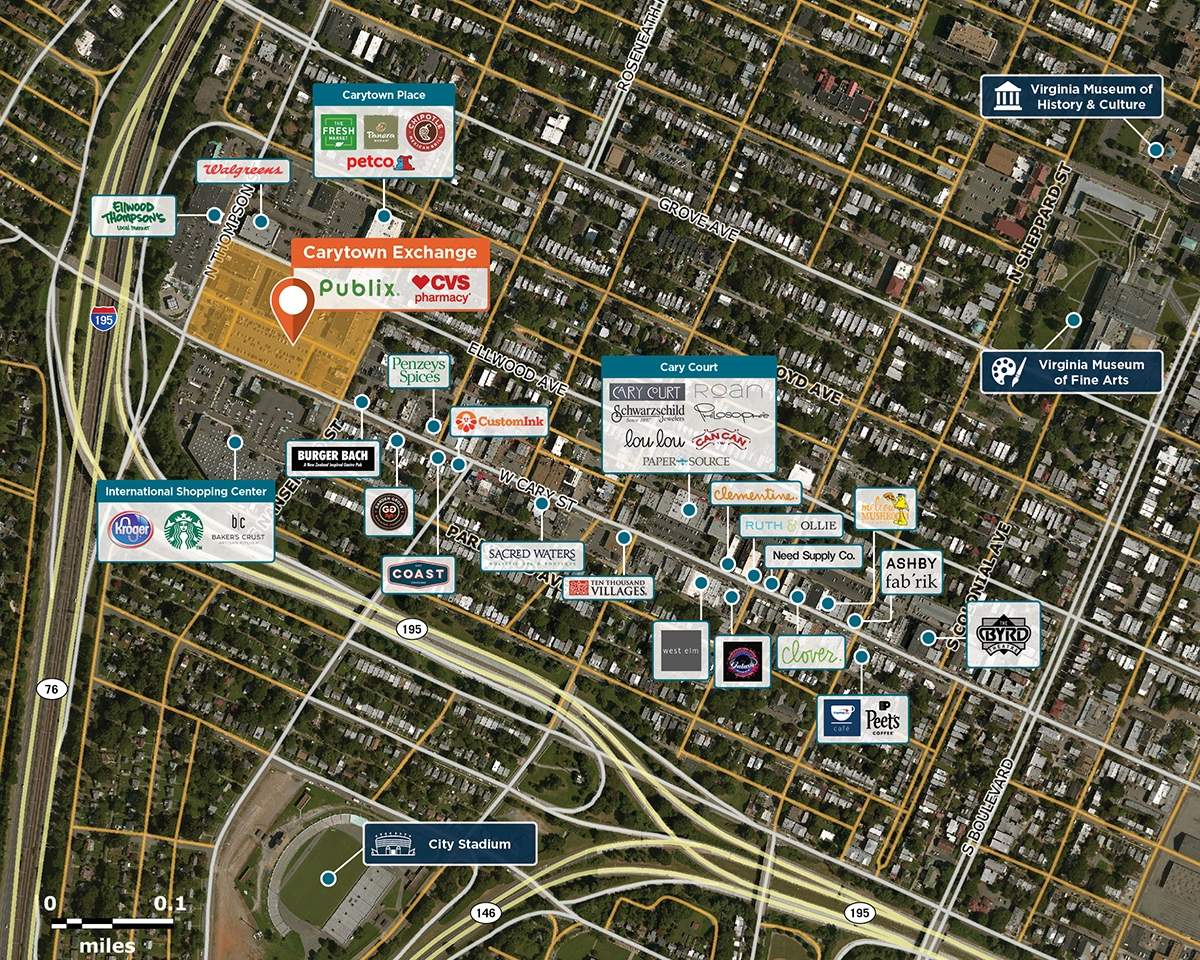 Carytown Exchange Trade Area Map for Richmond, VA 23221