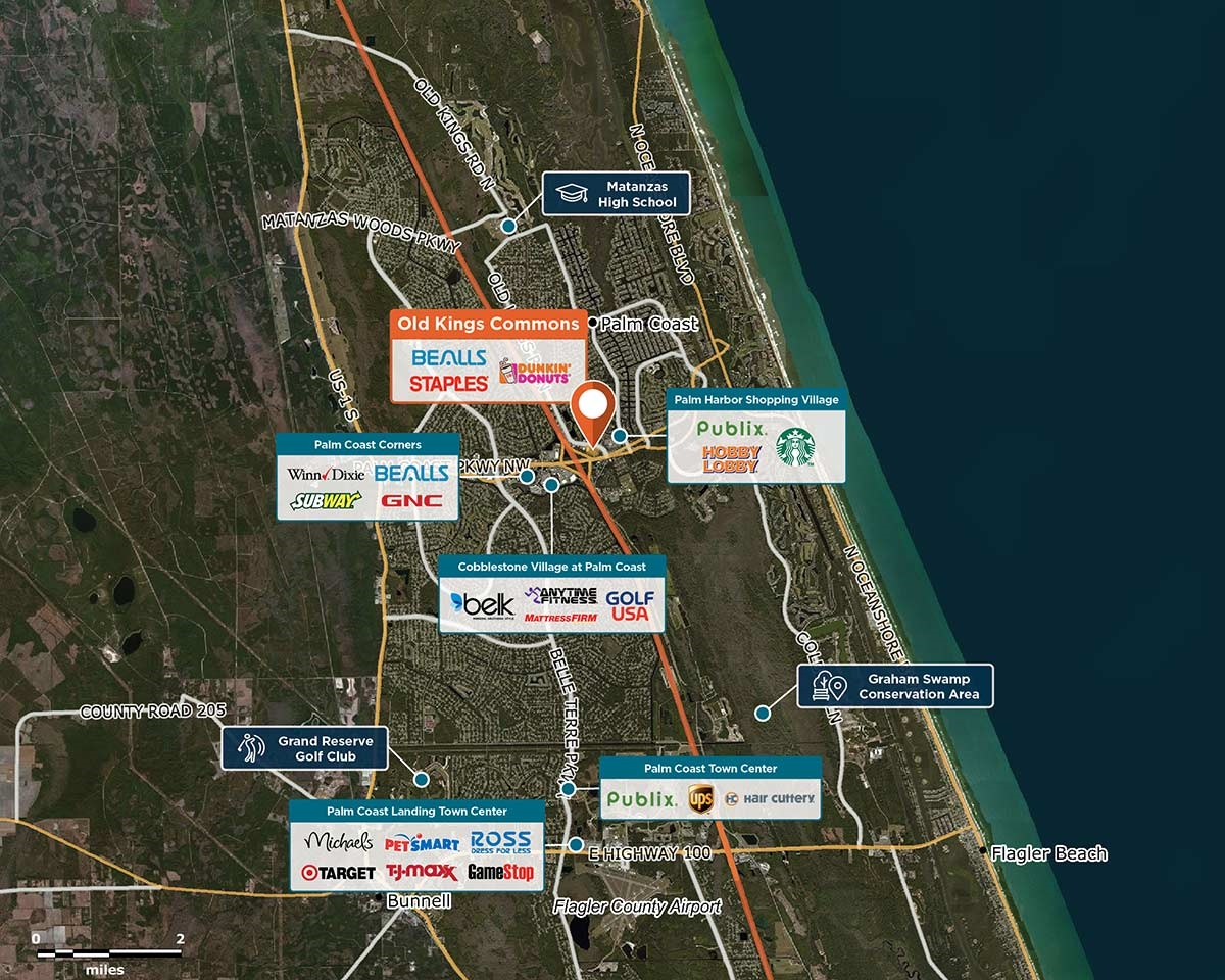 Old Kings Commons Trade Area Map for Palm Coast, FL 32137