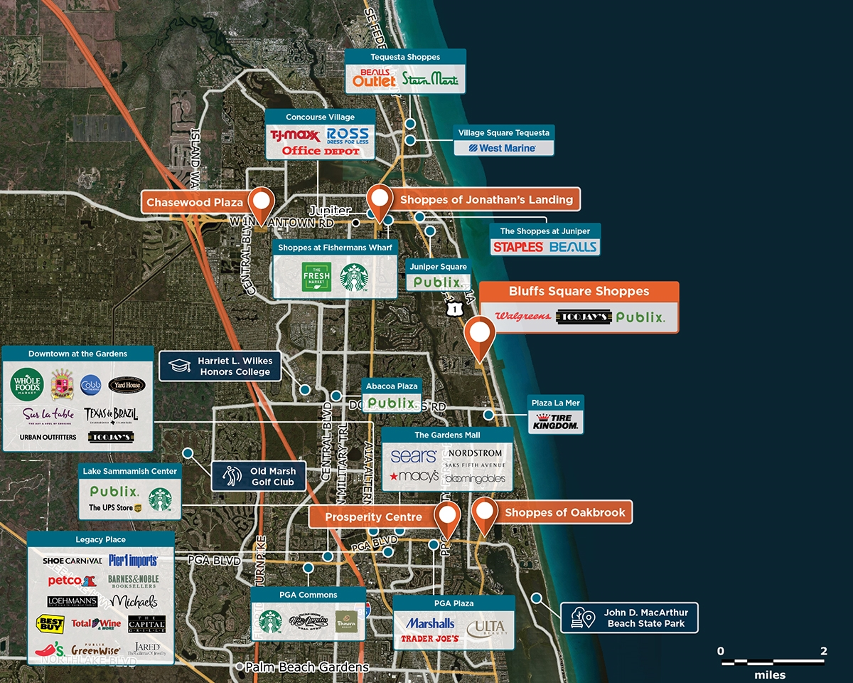 Bluffs Square Shoppes Trade Area Map for Jupiter, FL 33477