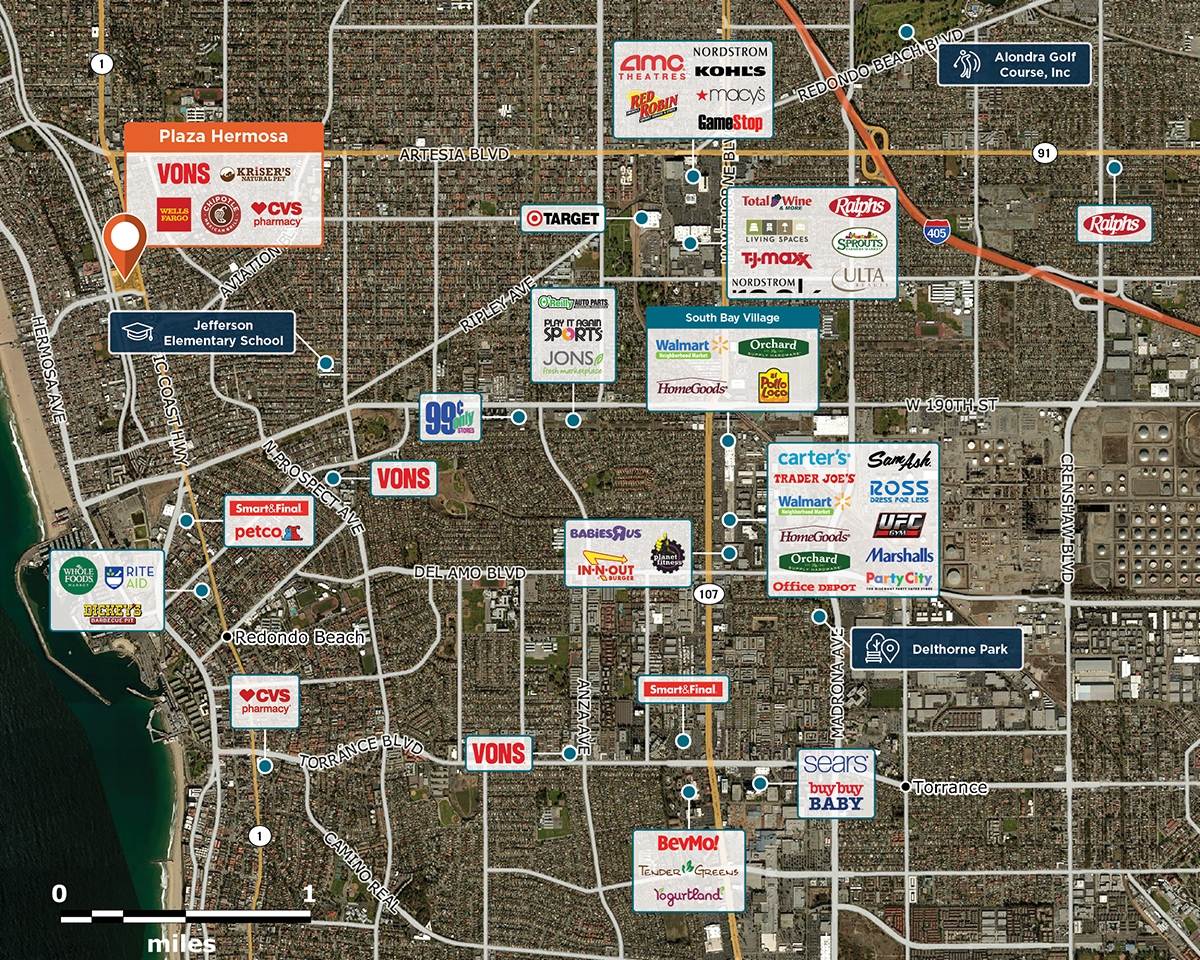 Plaza Hermosa Trade Area Map for Hermosa Beach, CA 90254