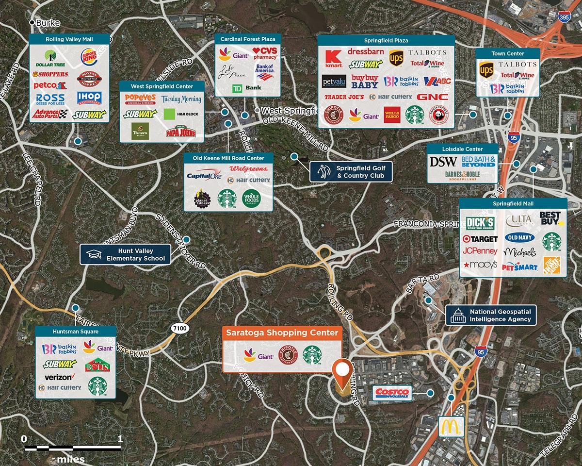 Saratoga Shopping Center Trade Area Map for Springfield, VA 22153