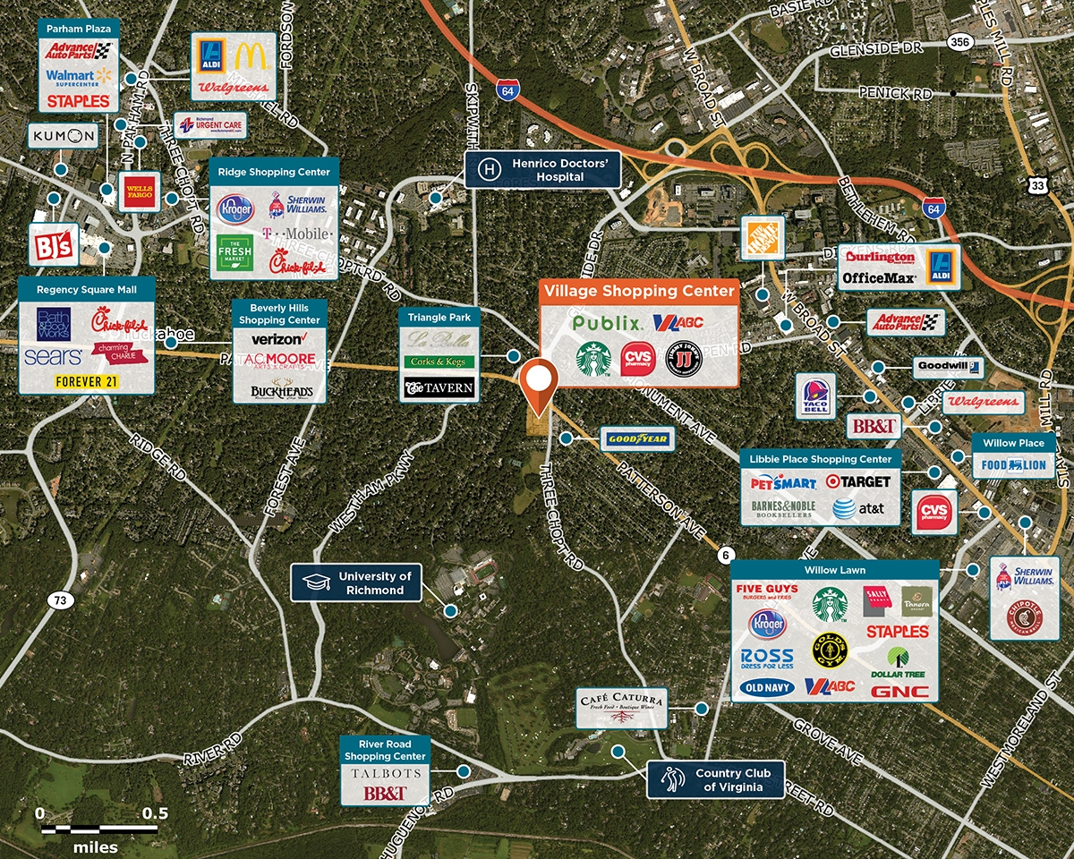 Village Shopping Center Trade Area Map for Richmond, VA 23226