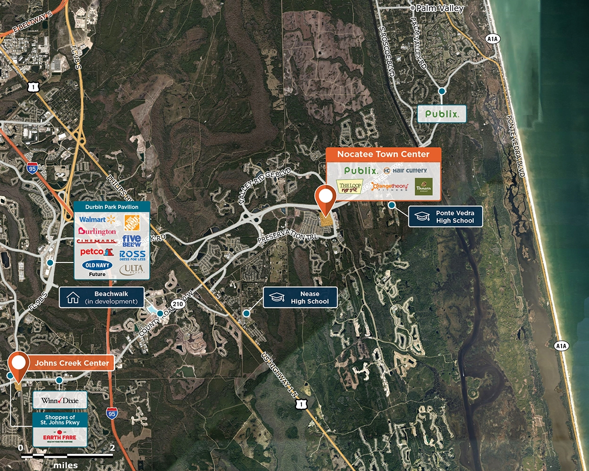 Nocatee Town Center Trade Area Map for Ponte Vedra Beach, FL 32081