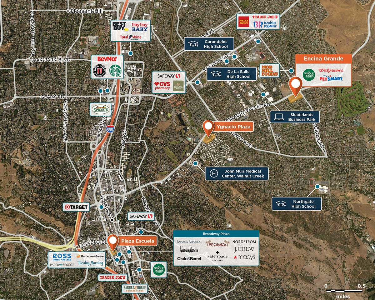Encina Grande Trade Area Map for Walnut Creek, CA 94598