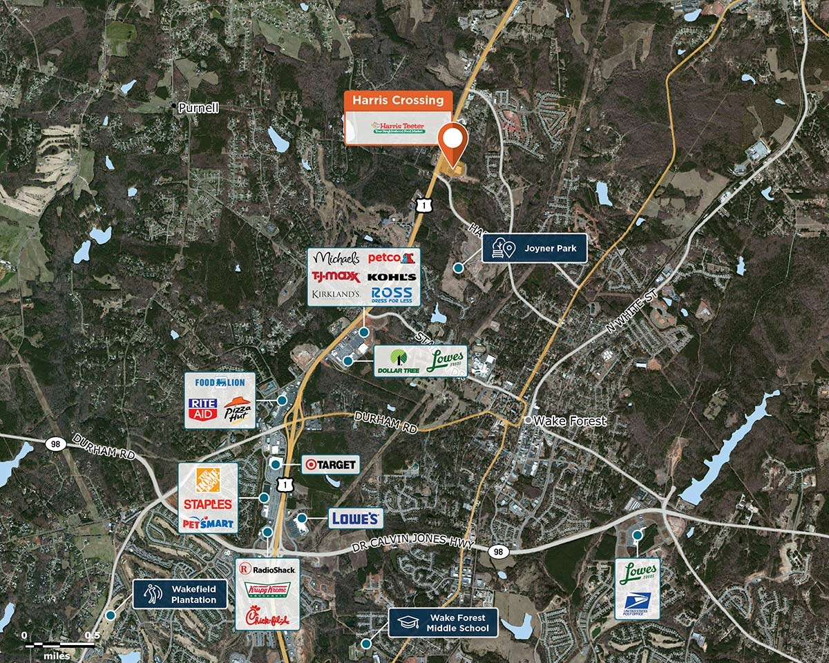Harris Crossing Trade Area Map for Wake Forest, NC 27587