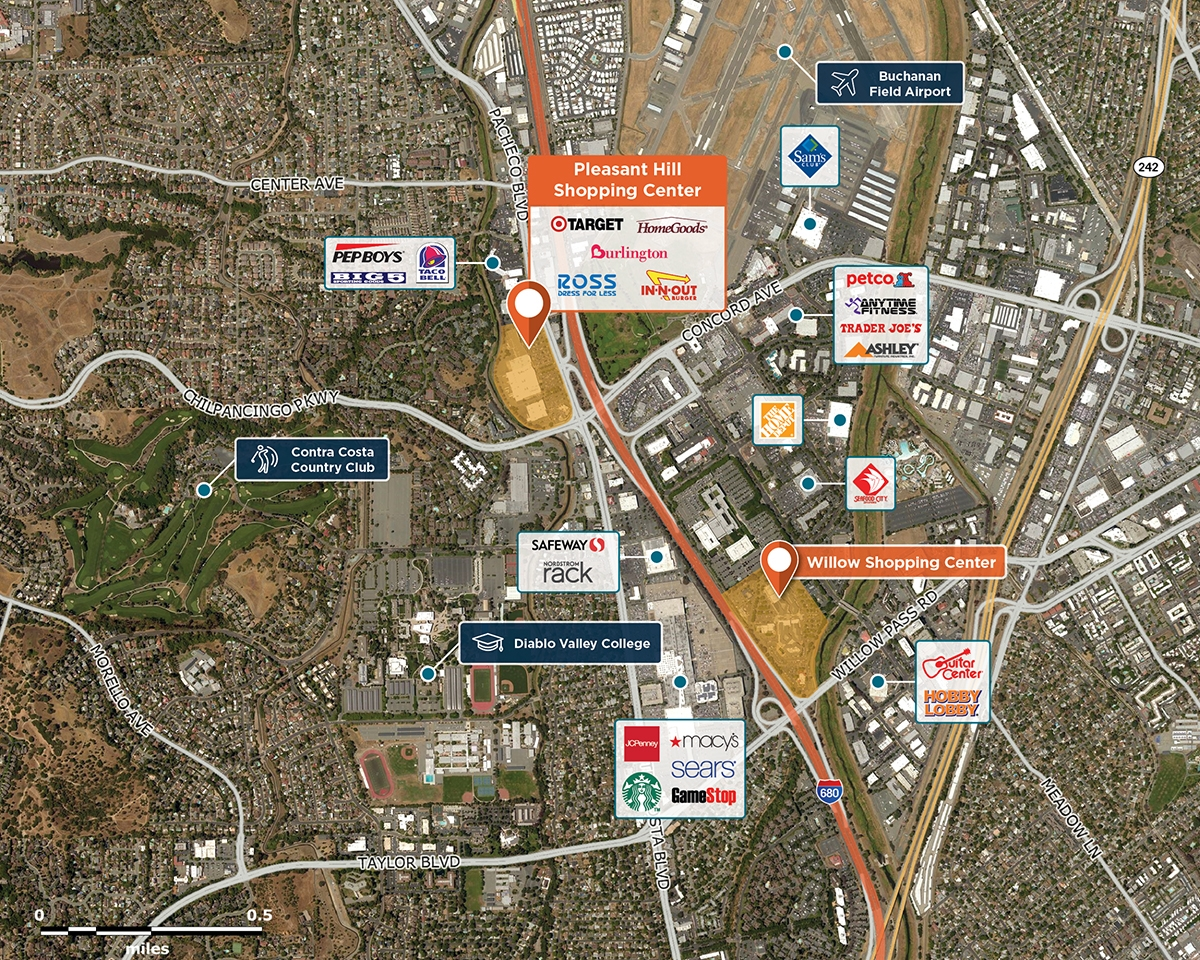 Pleasant Hill Shopping Center Trade Area Map for Pleasant Hill, CA 94523