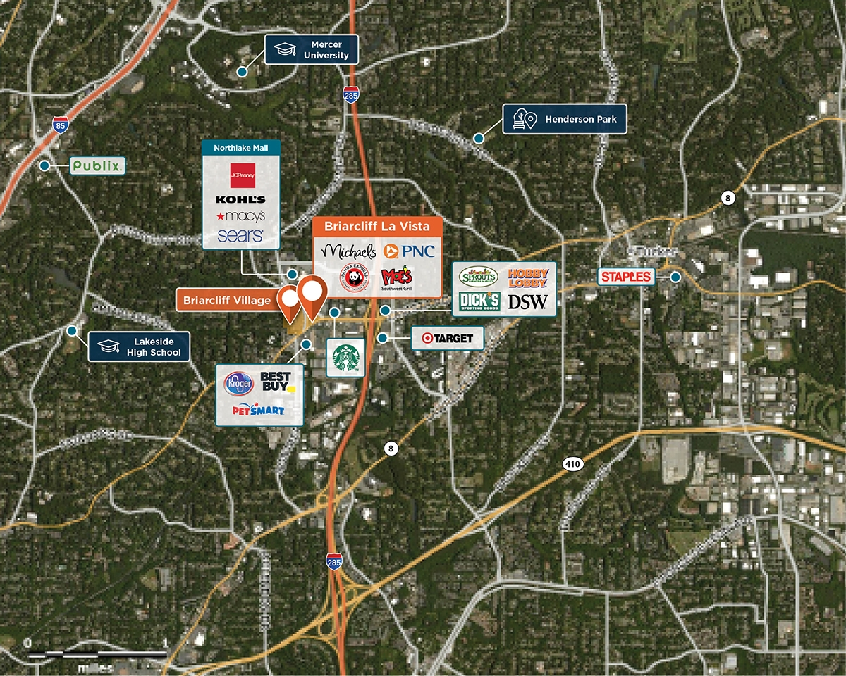 Briarcliff La Vista Trade Area Map for Tucker, GA 30084