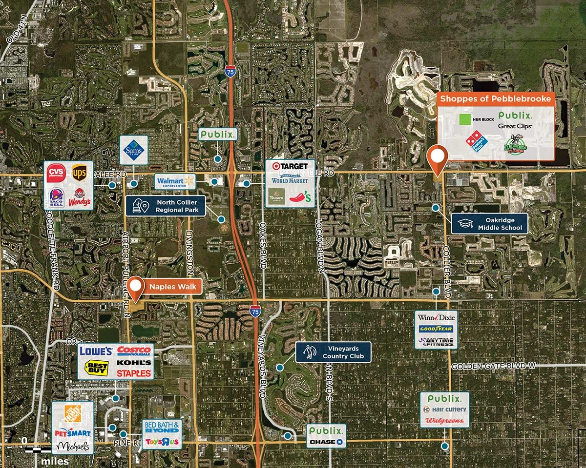 Shoppes of Pebblebrooke Trade Area Map for Naples, FL 34119