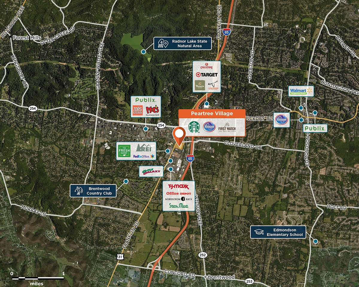 Peartree Village Trade Area Map for Brentwood, TN 37027