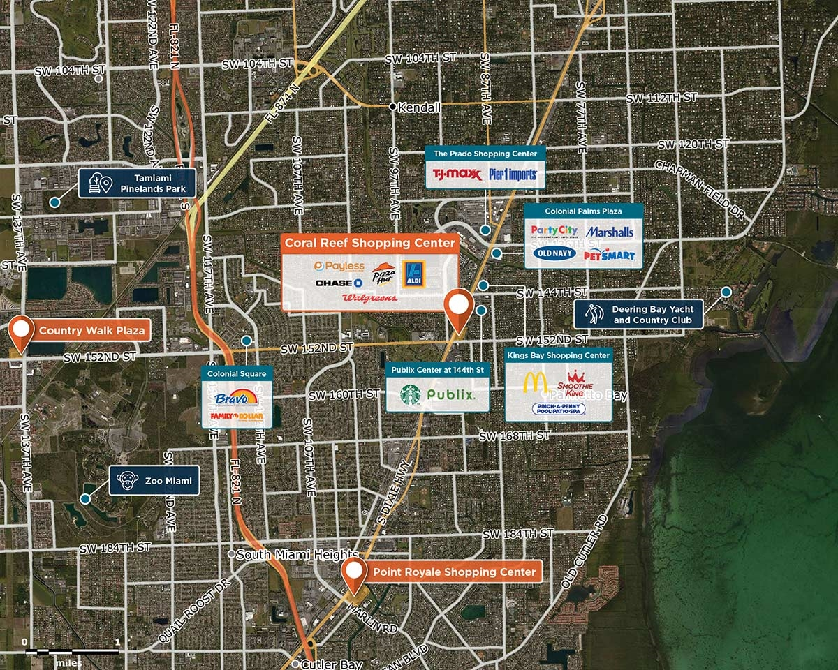 Coral Reef Shopping Center Trade Area Map for Palmetto Bay, FL 33177