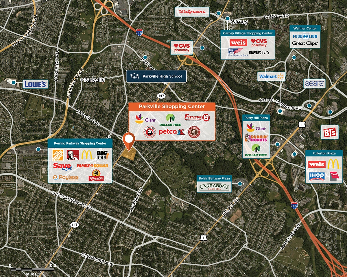 Parkville Shopping Center Trade Area Map for Baltimore, MD 21234