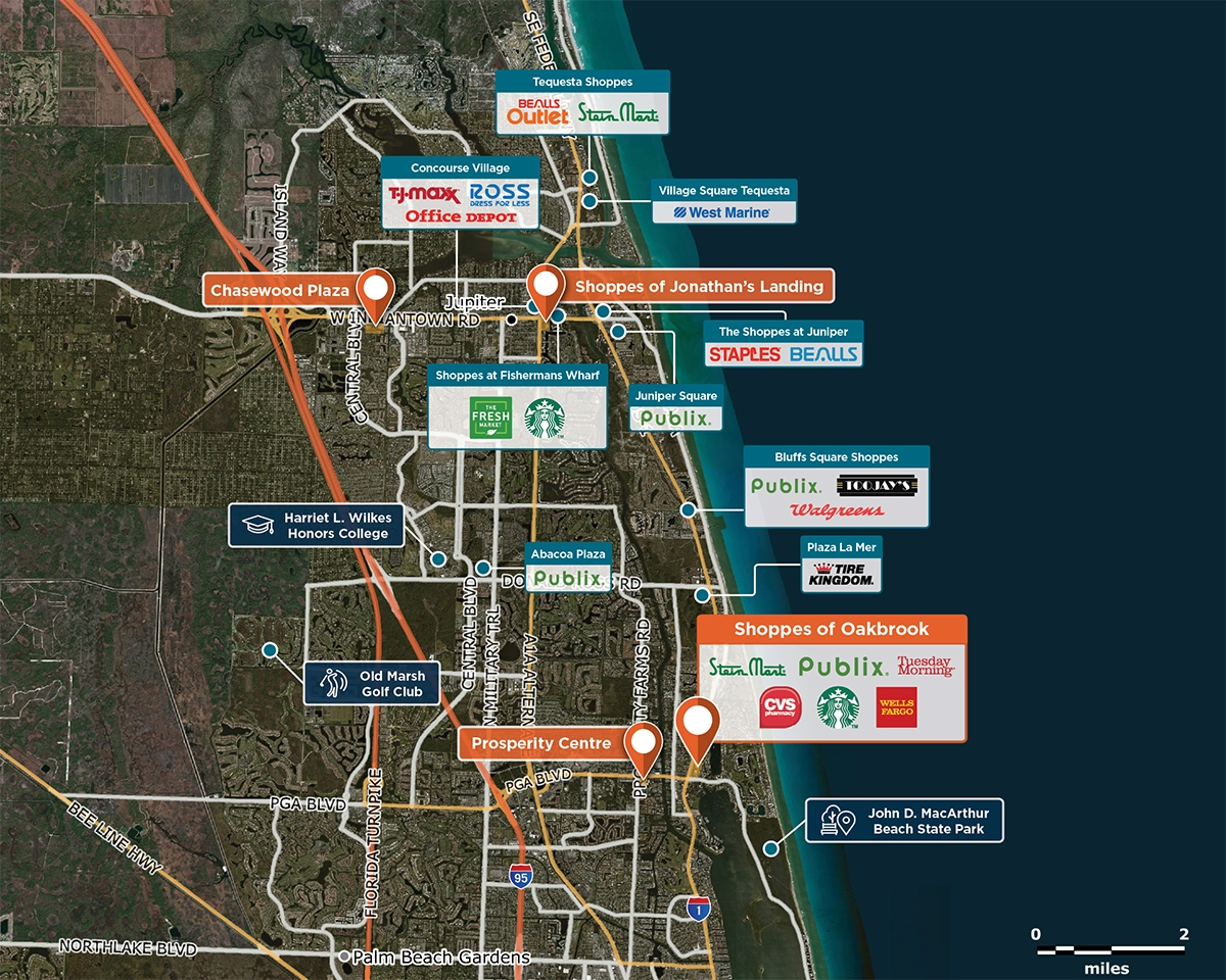 Shoppes of Oakbrook Trade Area Map for North Palm Beach, FL 33408