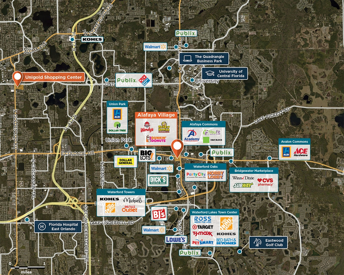 Alafaya Village Trade Area Map for Orlando, FL 32817