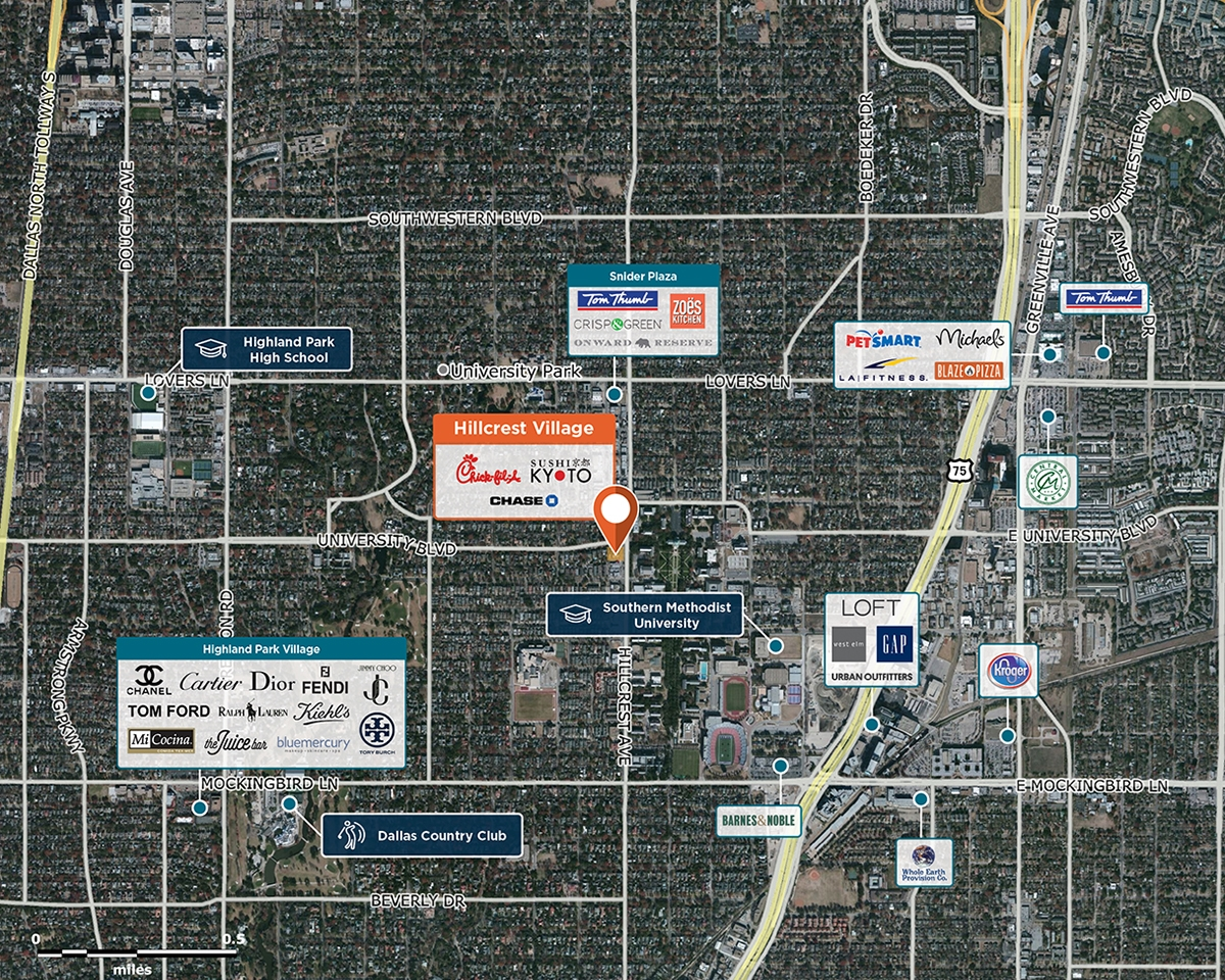 Hillcrest Village Trade Area Map for Dallas, TX 75205