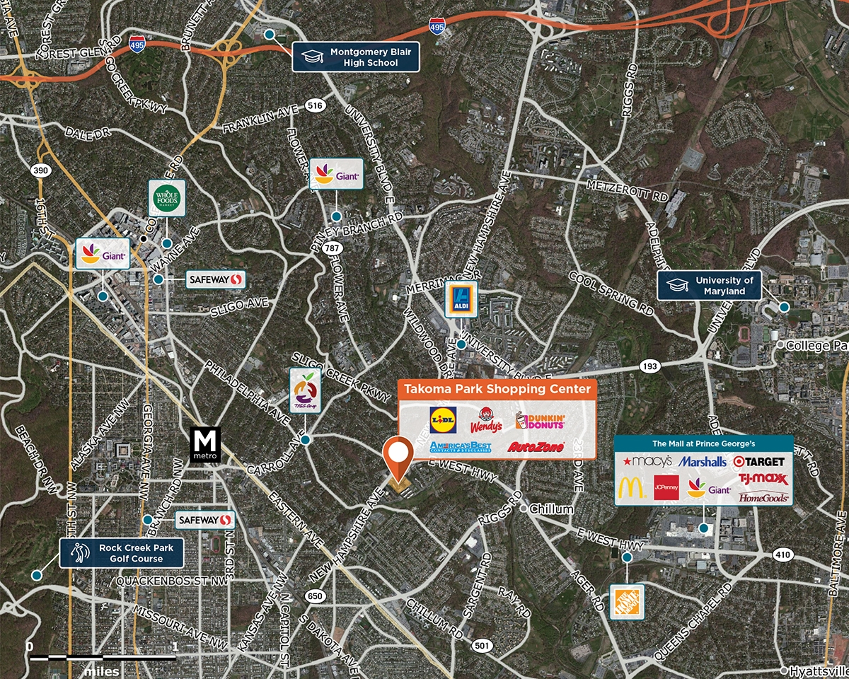 Takoma Park Shopping Center Trade Area Map for Takoma Park, MD 20912
