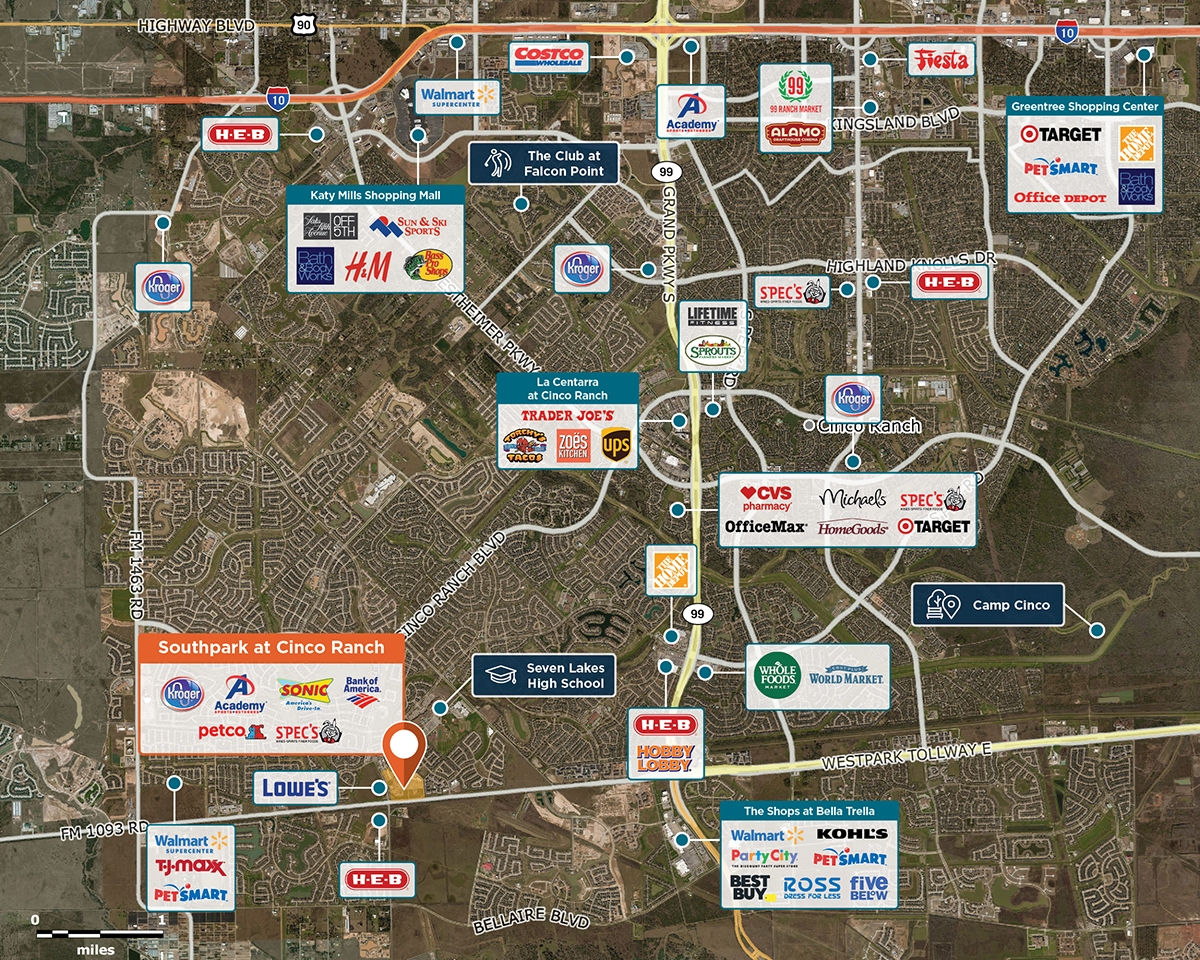 Southpark at Cinco Ranch Trade Area Map for Katy, TX 77494
