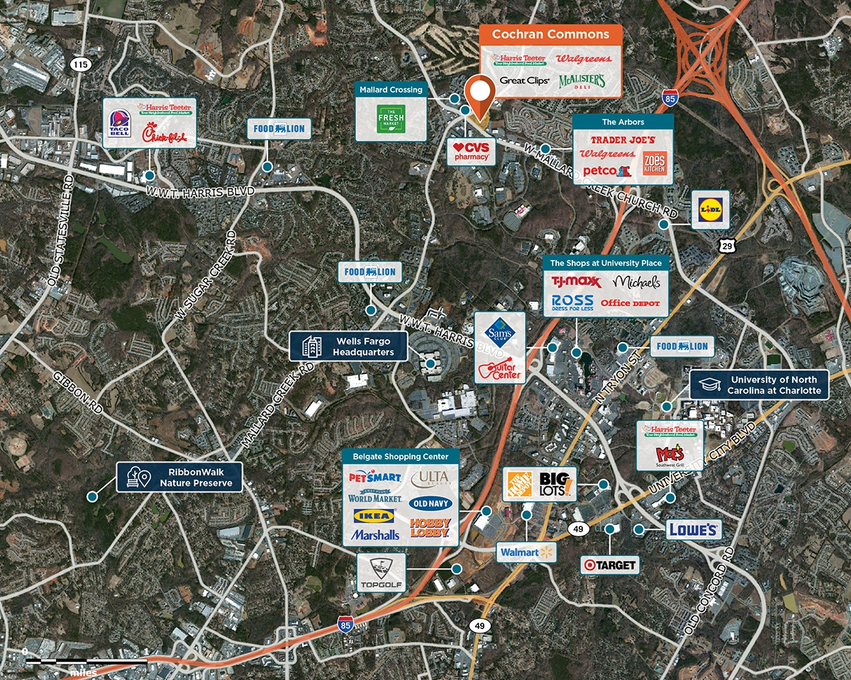 Cochran Commons Trade Area Map for Charlotte, NC 28262