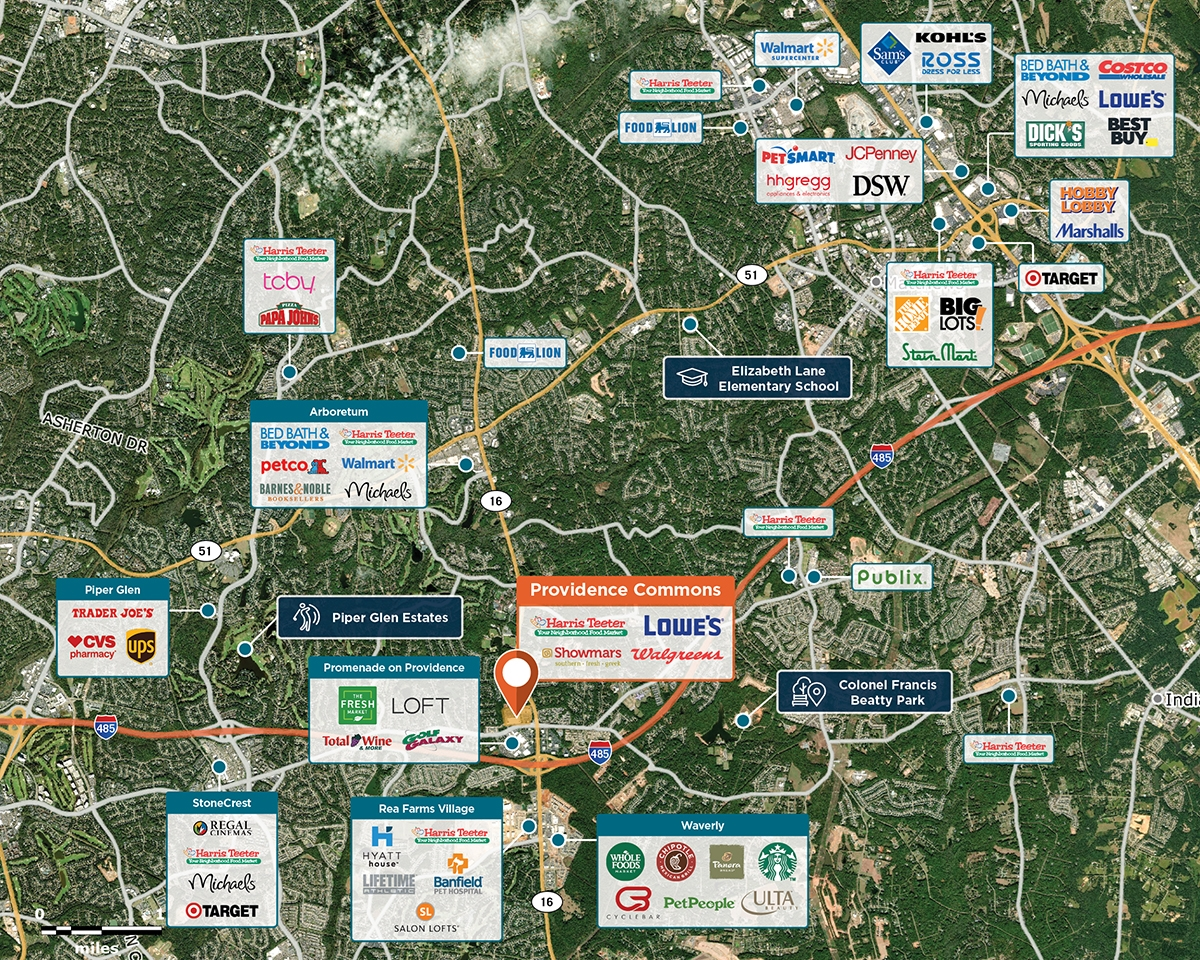Providence Commons Trade Area Map for Charlotte, NC 28277