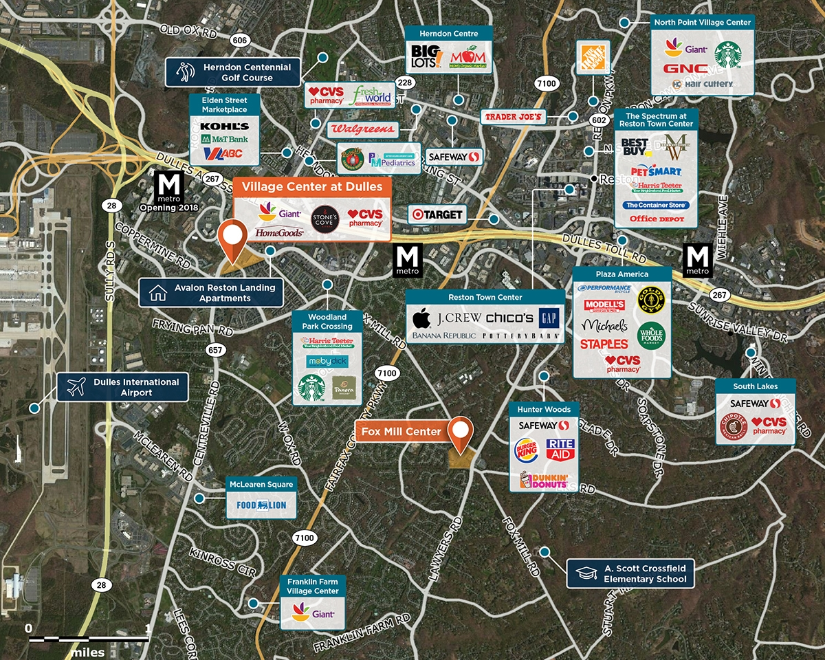 Village Center at Dulles Trade Area Map for Herndon, VA 20171