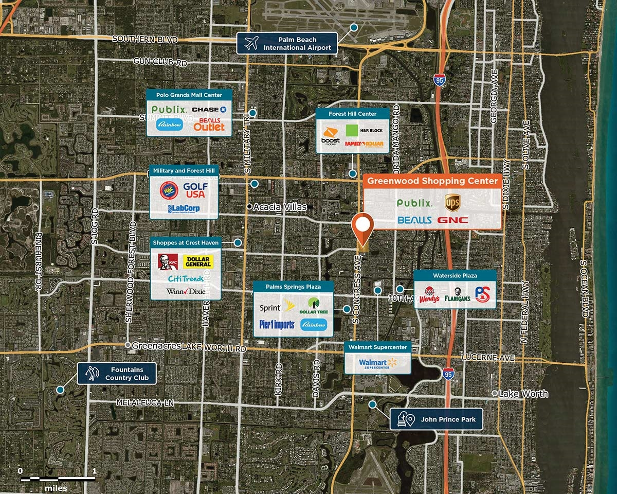 Greenwood Shopping Centre Trade Area Map for Palm Springs, FL 33461