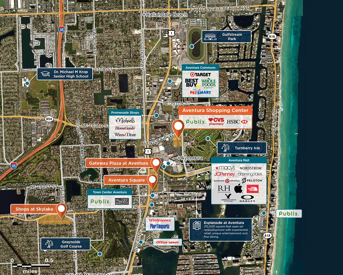 Aventura Shopping Center Trade Area Map for Aventura, FL 33180