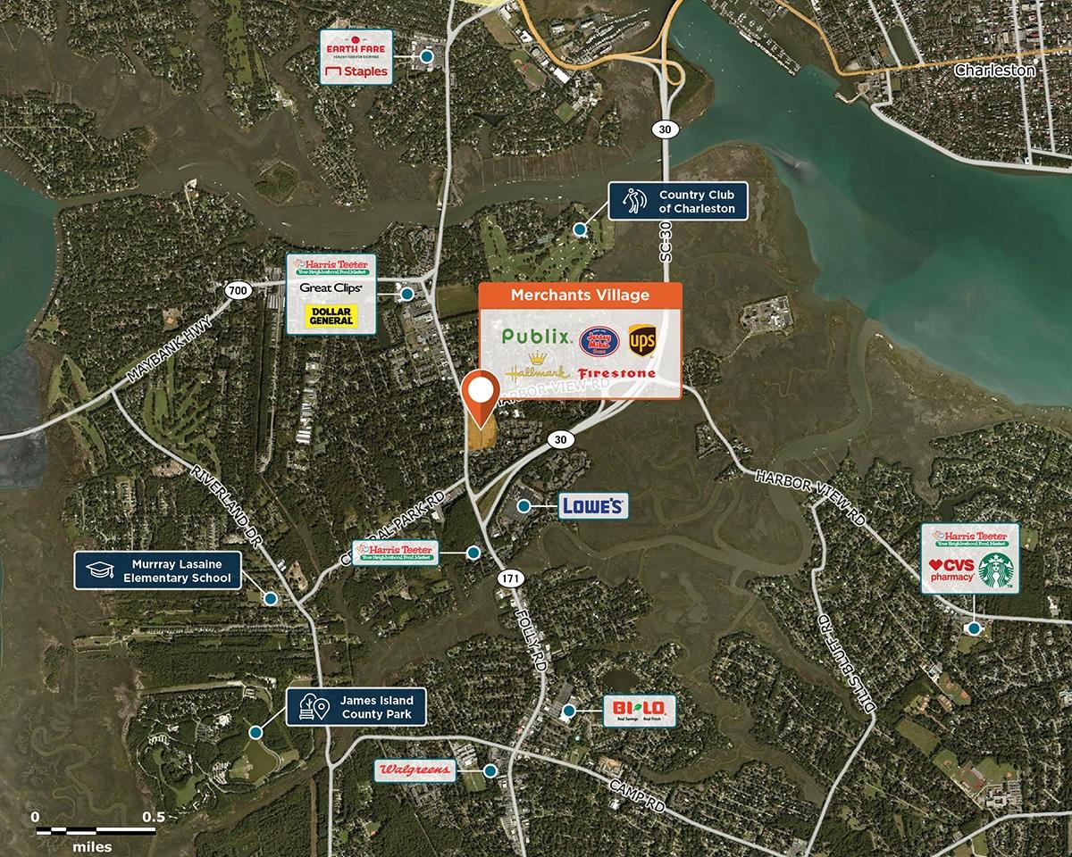 Merchants Village Trade Area Map for Charleston, SC 29412