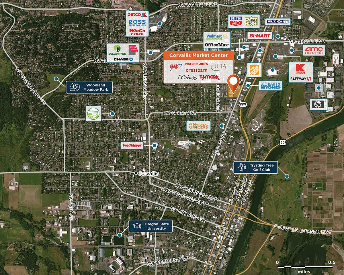 Corvallis Market Center Trade Area Map for Corvallis, OR 97330
