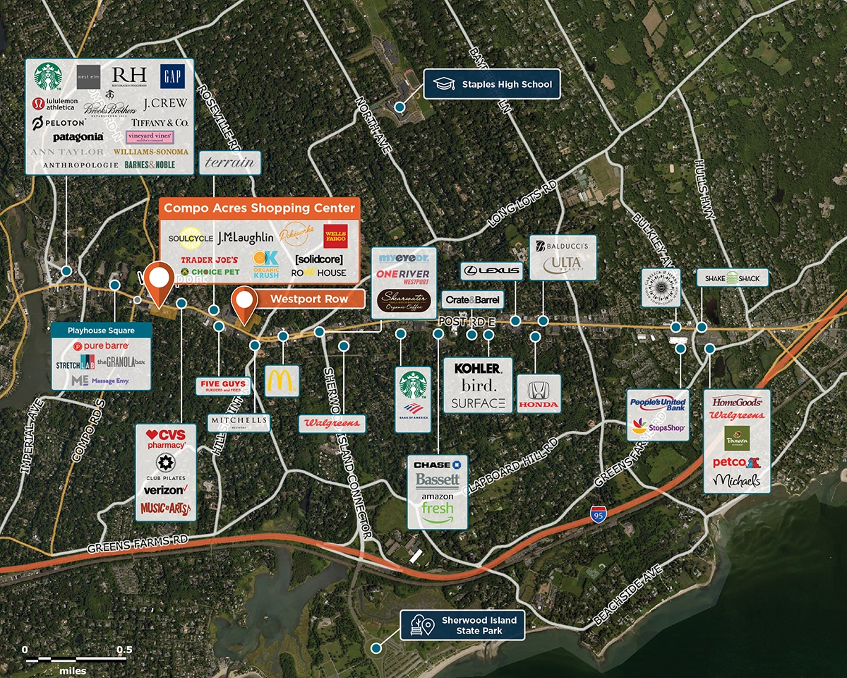 Compo Acres Shopping Center Trade Area Map for Westport, CT 06880