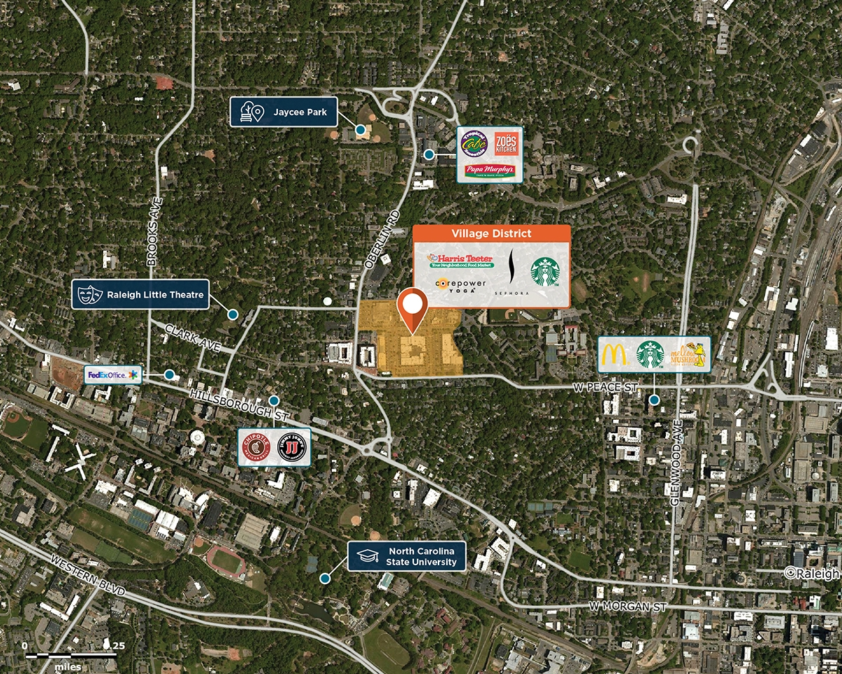 Cameron Village Trade Area Map for Raleigh, NC 27605