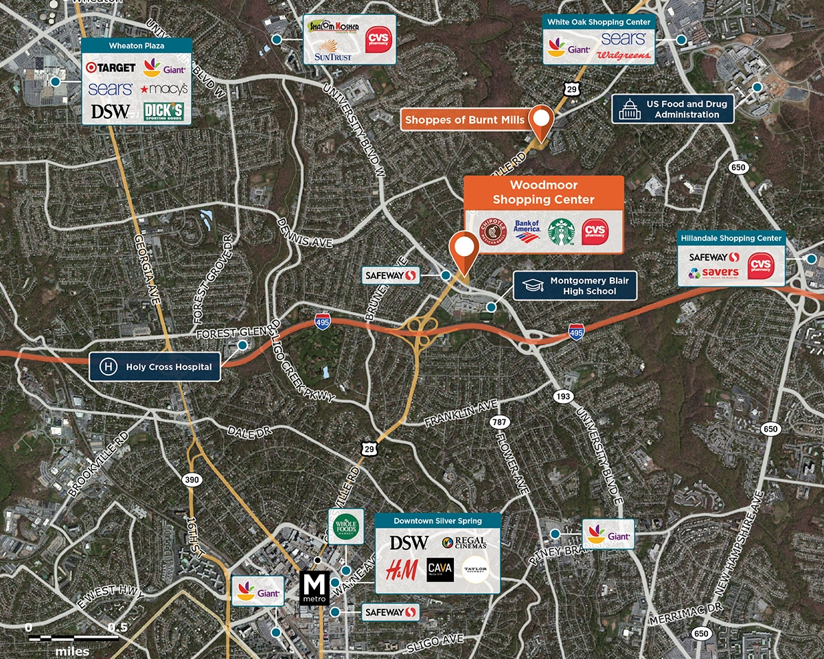 Woodmoor Shopping Center Trade Area Map for Silver Spring, MD 20901
