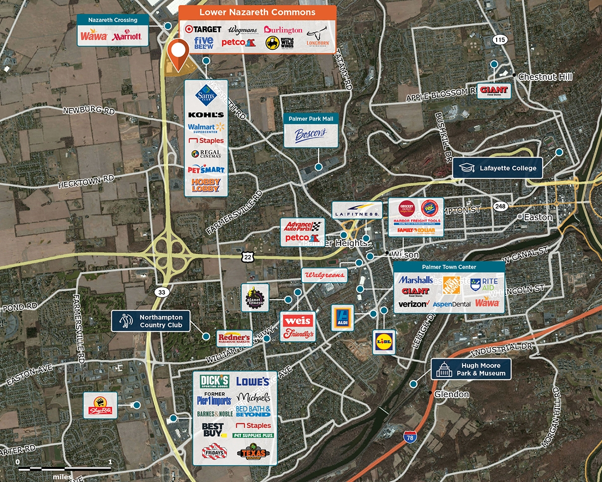 Lower Nazareth Commons Trade Area Map for Easton, PA 18045