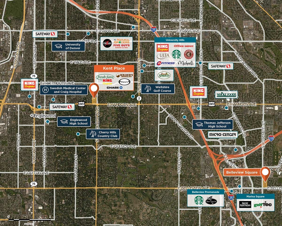 Kent Place Trade Area Map for Englewood, CO 80113
