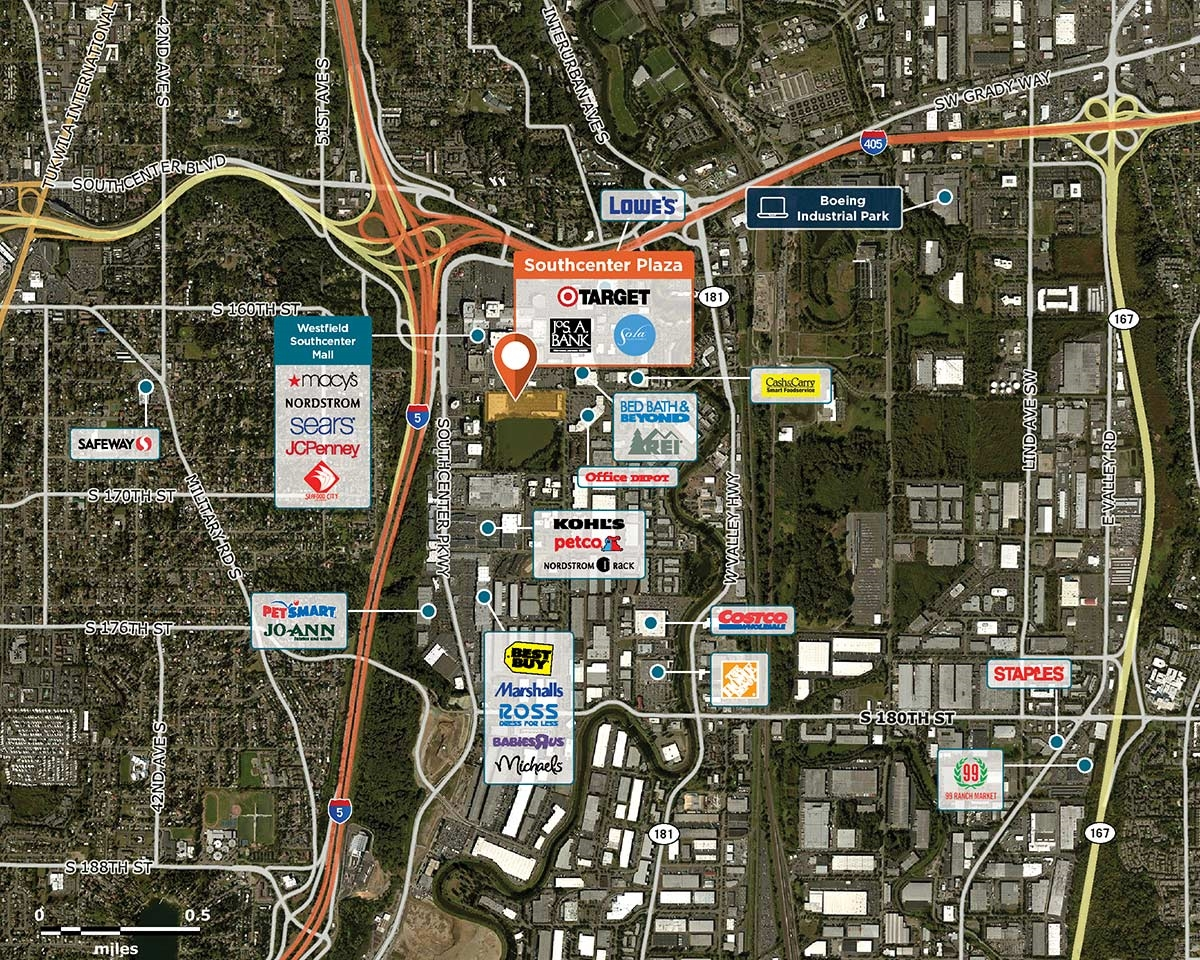Southcenter Plaza Trade Area Map for Tukwila, WA 98188