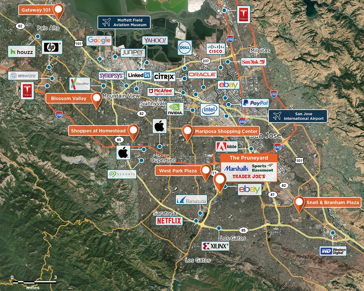 The Pruneyard Trade Area Map for Campbell, CA 95008