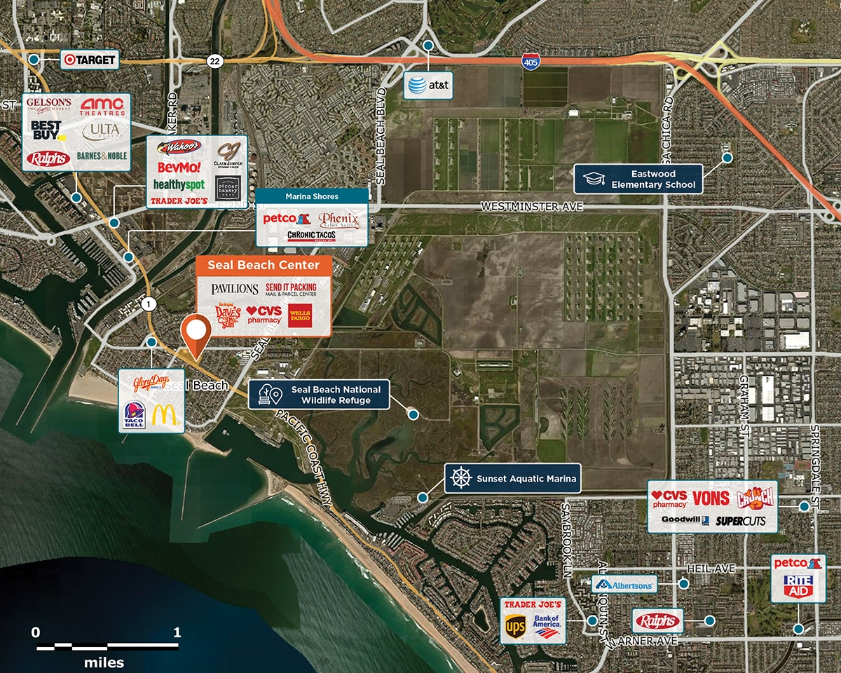 Seal Beach Center Trade Area Map for Seal Beach, CA 90740