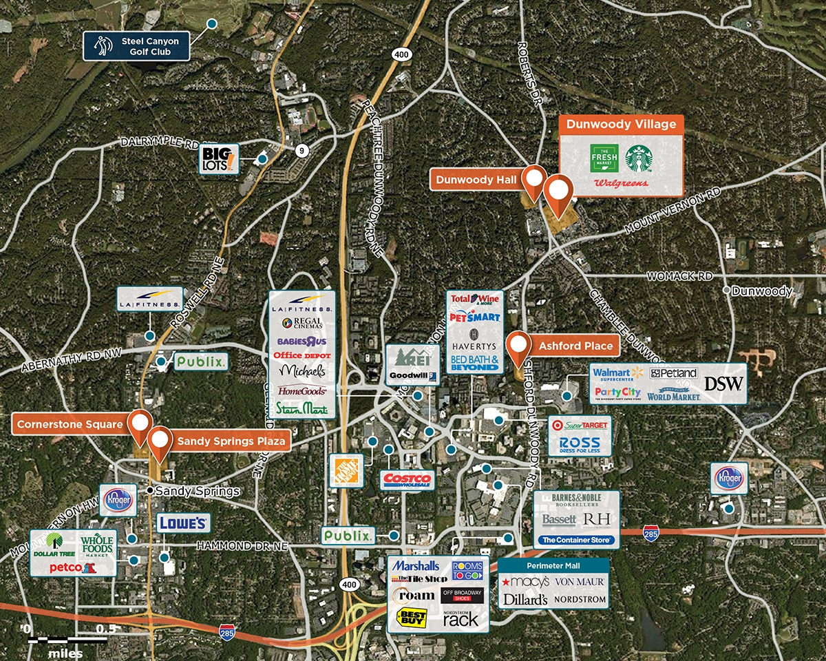 Dunwoody Village Trade Area Map for Dunwoody, GA 30338
