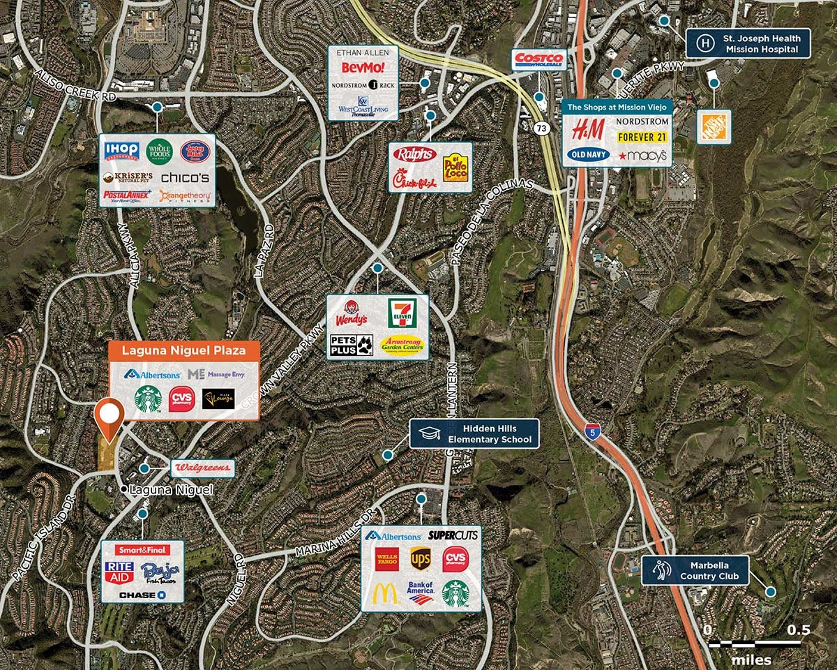Laguna Niguel Plaza Trade Area Map for Laguna Niguel, CA 92677