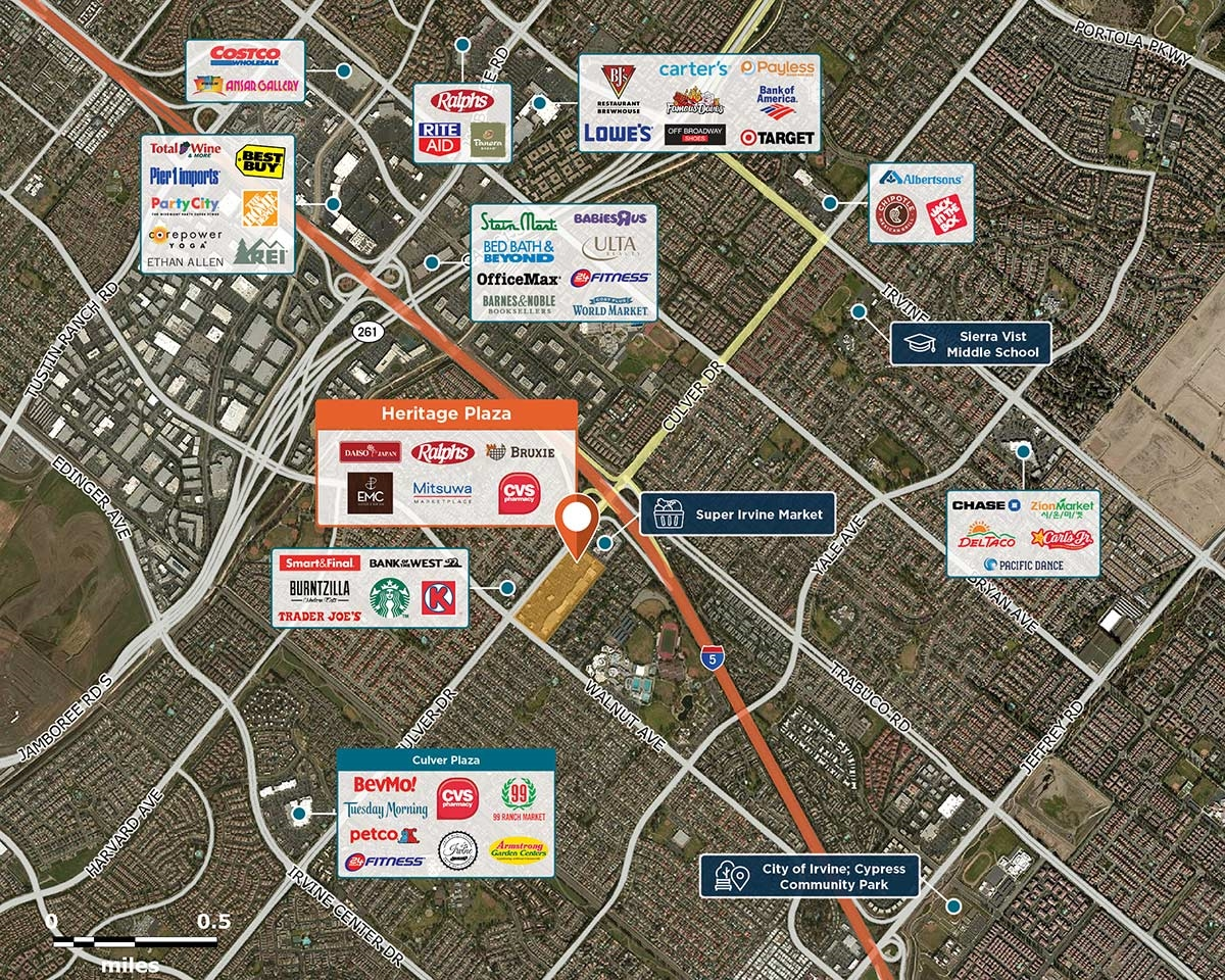Heritage Plaza Trade Area Map for Irvine, CA 92604