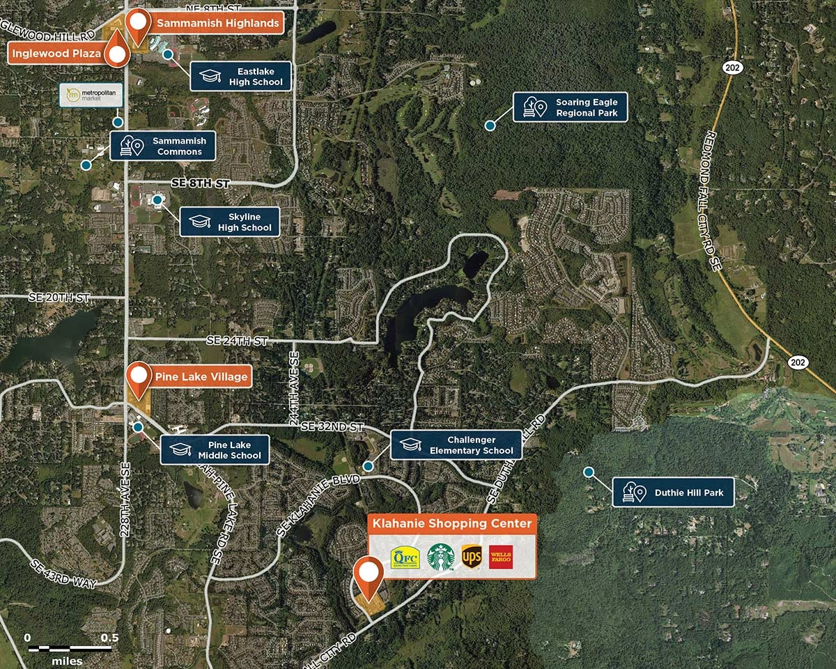 Klahanie Shopping Center Trade Area Map for Sammamish, WA 98029