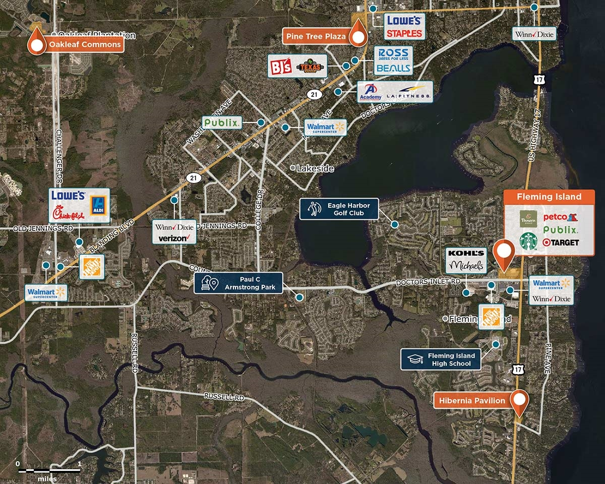 Fleming Island Trade Area Map for Orange Park, FL 32073