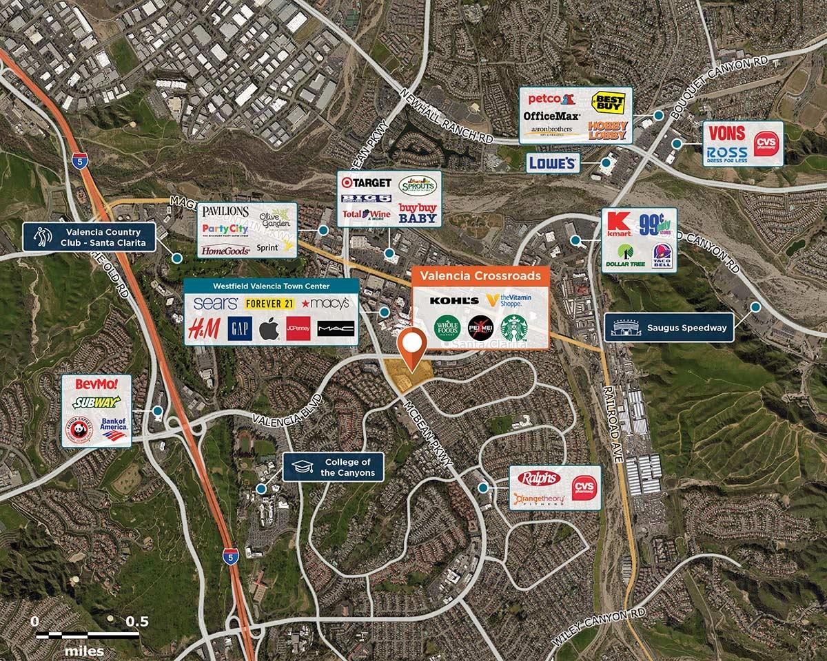 Valencia Crossroads Trade Area Map for Valencia, CA  91355