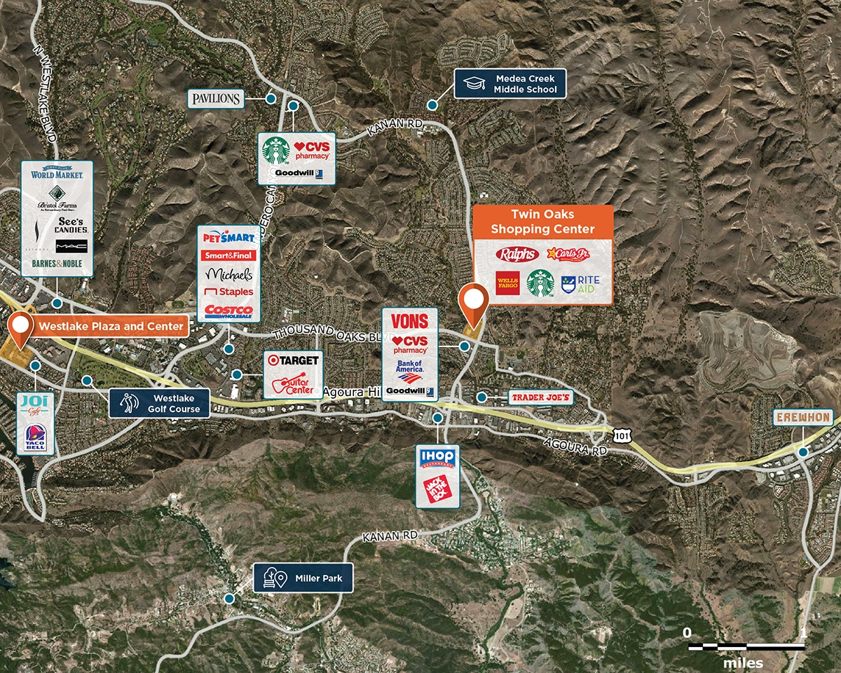 Twin Oaks Shopping Center Trade Area Map for Agoura Hills, CA 91301