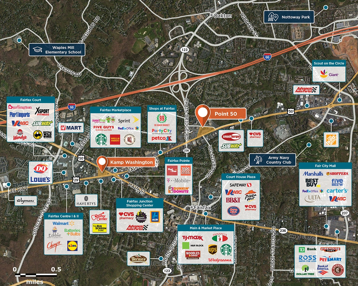 Point 50 Trade Area Map for Fairfax, VA 22030