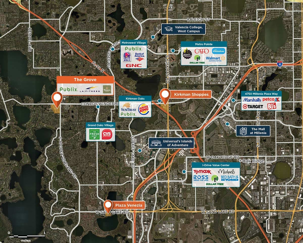 The Grove Trade Area Map for Windermere, FL 34786