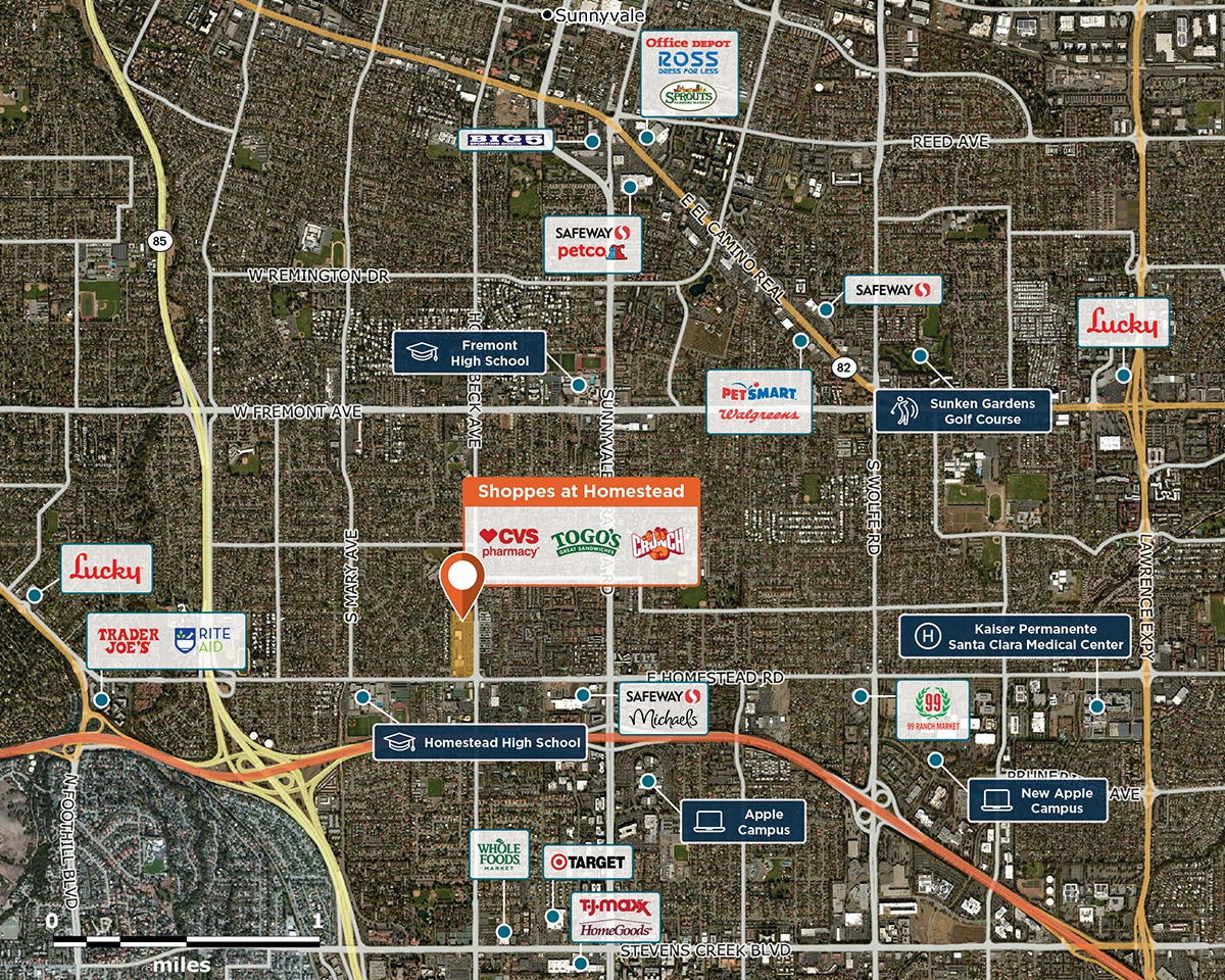 Homestead High School Campus Map.Shoppes At Homestead Sunnyvale Ca 94087 Retail Space Regency