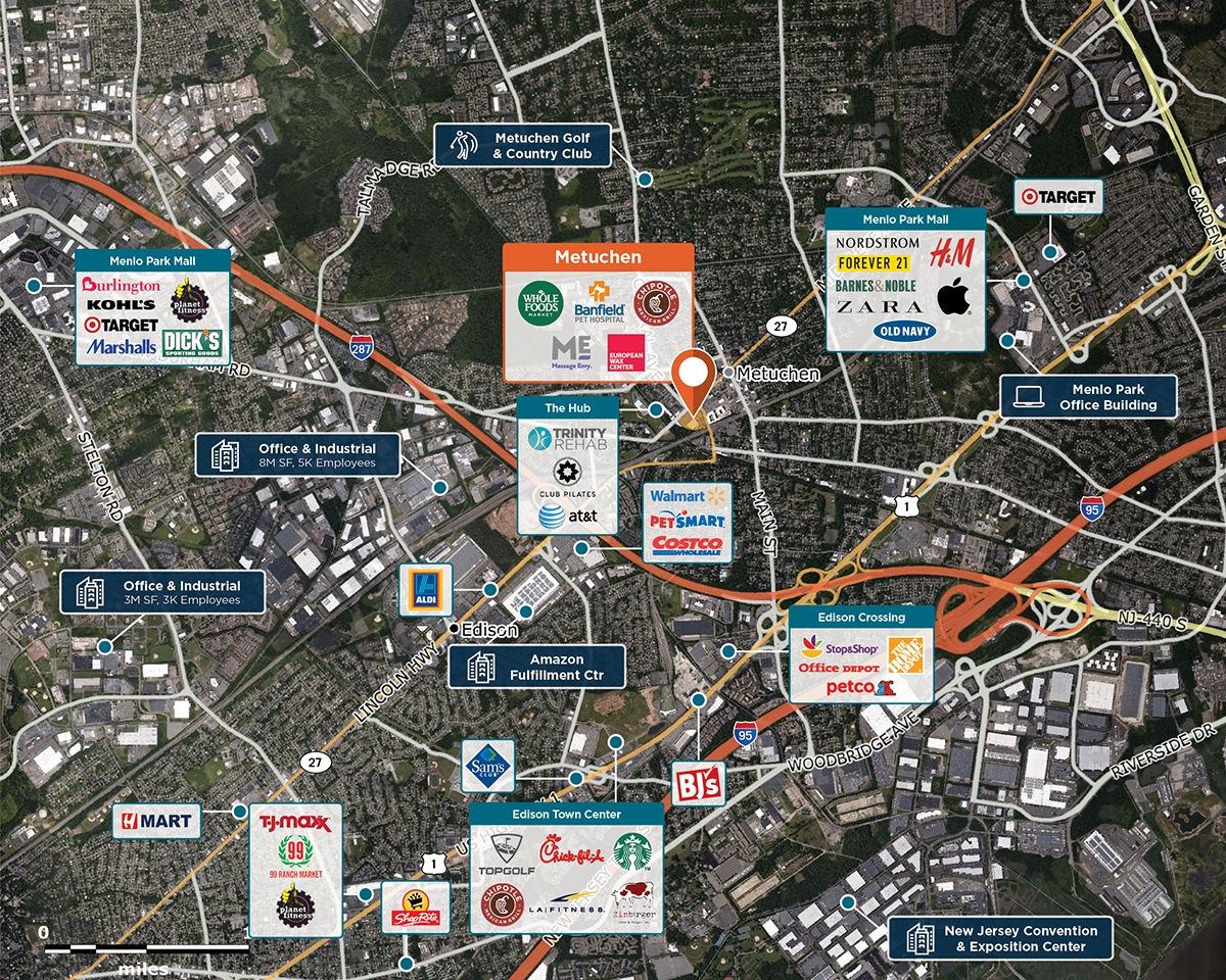 District at Metuchen Trade Area Map for Metuchen, NJ 08840