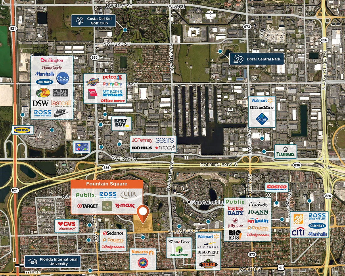 Fountain Square Trade Area Map for Miami, FL 33174