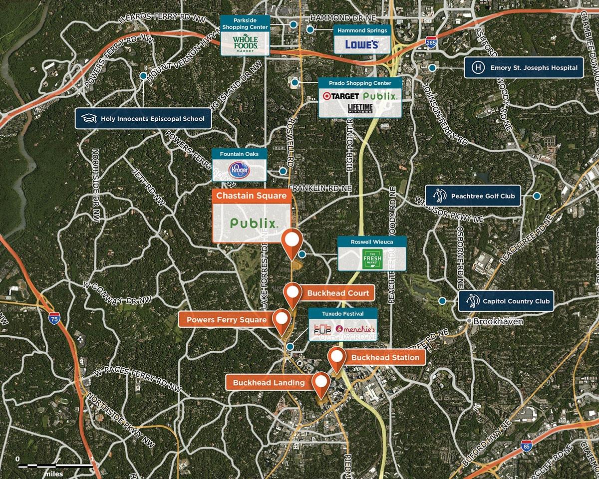 Chastain Square Trade Area Map for Atlanta, GA 30342