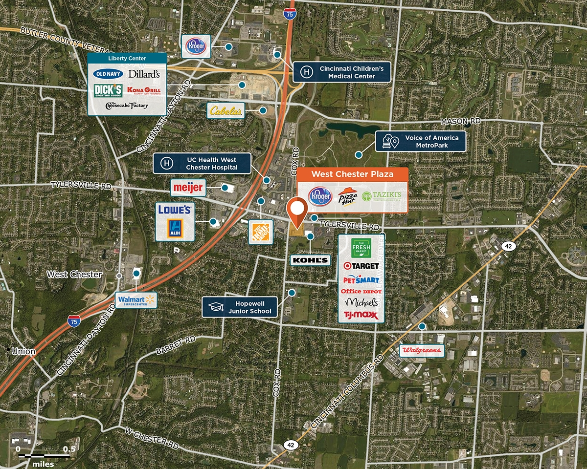 West Chester Plaza Trade Area Map for West Chester, OH 45069